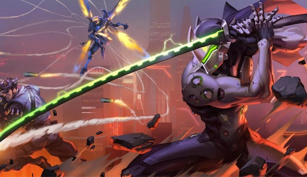 illustrated image of a fight scene from the video game Overwatch