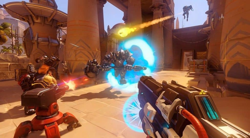 battle scene from the multiplayer team shooting game Overwatch