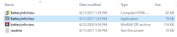 the BatteryInfoView exe file
