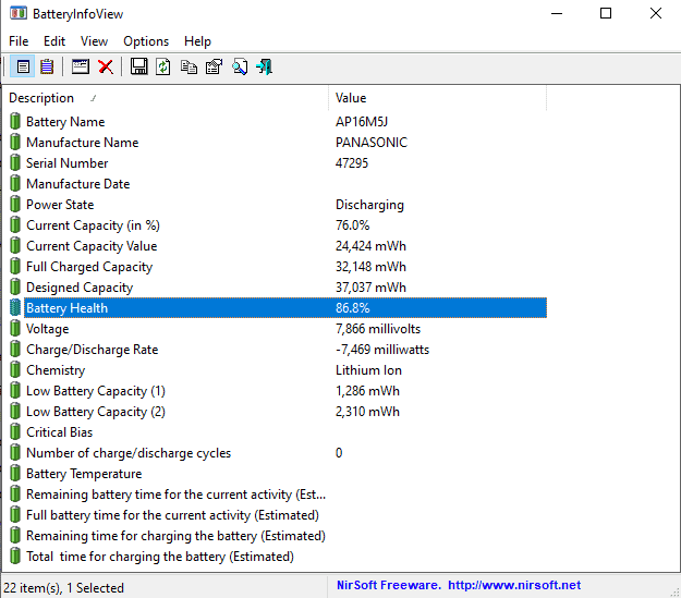the battery health of my laptop using BatteryHealthView