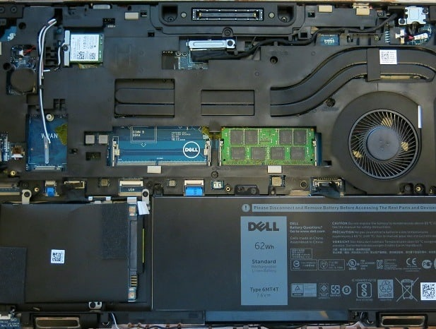 Dell laptop thats case has been opened and you can see the part