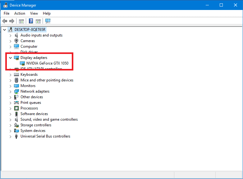Device Manager section showing what display adapter the laptop is using