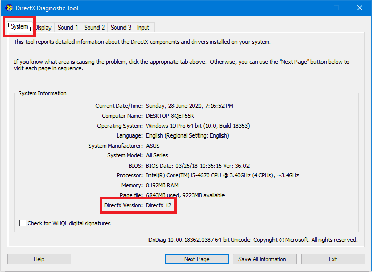 DirectX Diagnostic Tool showing which version is installed