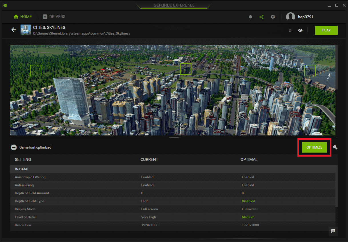 GeForce Experience options for the game Cities: Skylines