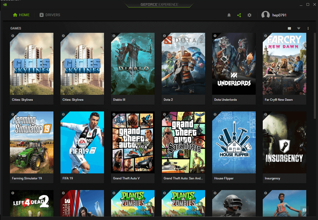 GeForce Experience settings screen showing many different games