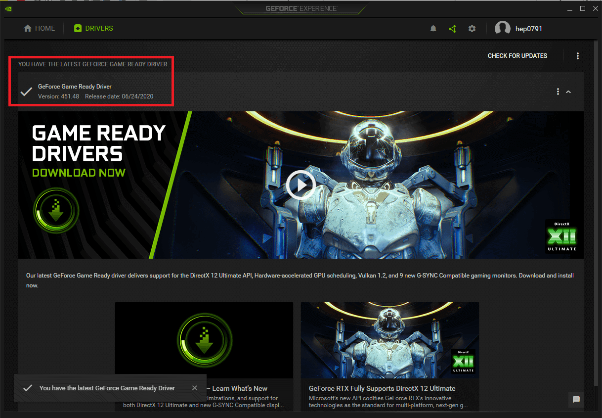 GeForce experience driver screen