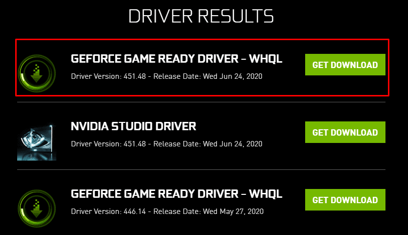 Nvidia driver search results screen