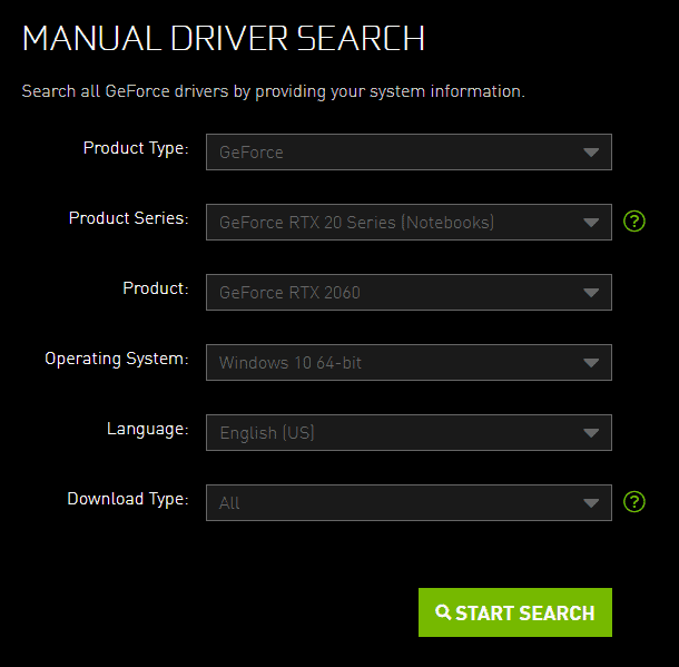 Nvidia driver search screen