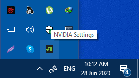 Nvidia option in the Windows System Tray