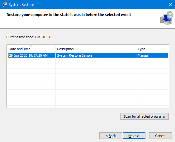 system restore point selection