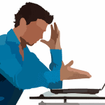 artwork of a man looking annoyed with his laptop