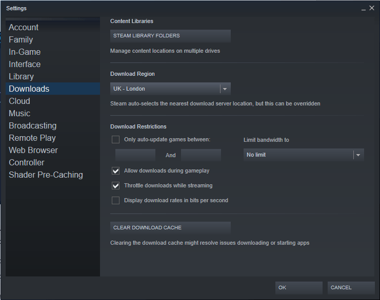 Steam download settings option screen
