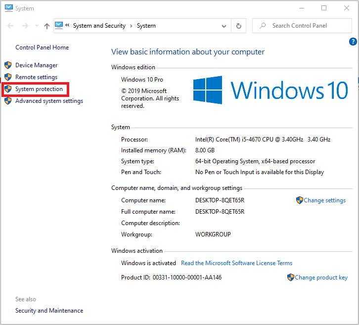 Windows 10 system properties window also showing the system protection button to select