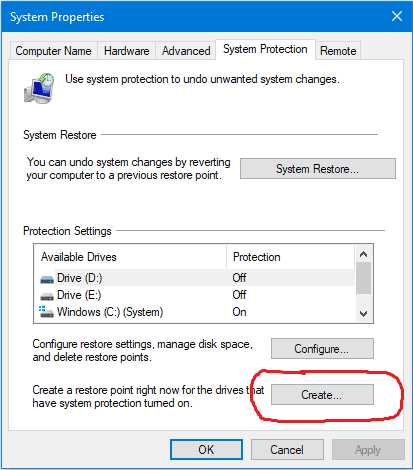 the create button to select on the system properties window