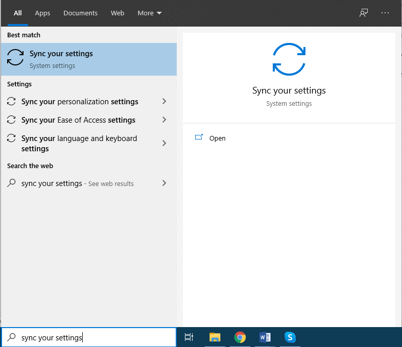 Sync options button