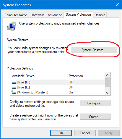 system restore button to select
