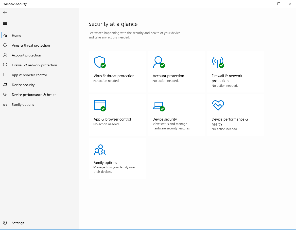 Windows Security options screen
