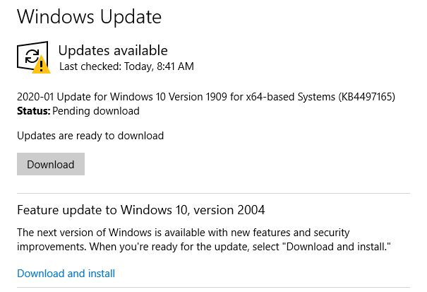 Windows Update download button