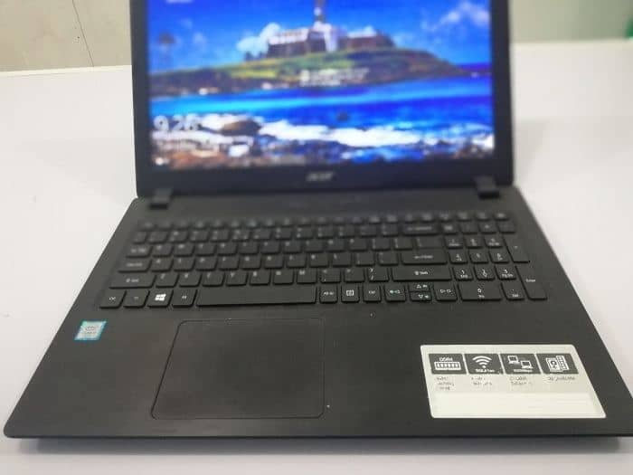 black acer laptop displaying specification sticker
