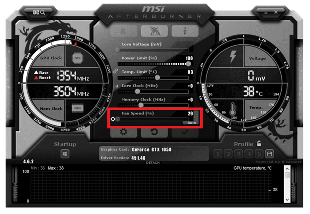 MSI Afterburner graphics card utility software used for changing fan speed