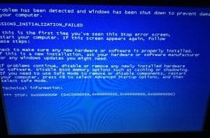 Windows computer showing error screen commonly known as blue screen of death