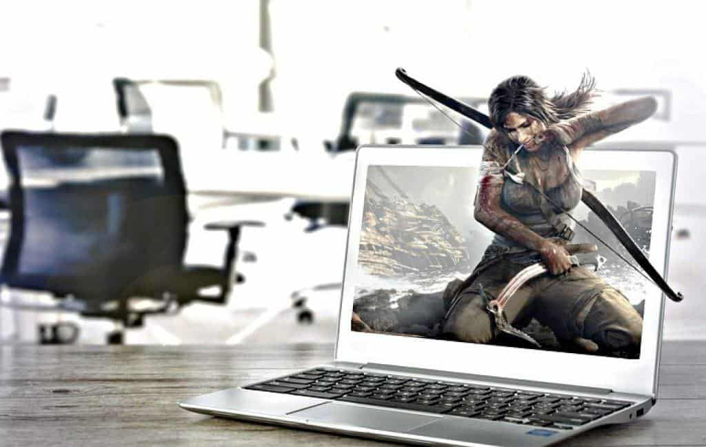 tomb rider realistic gameplay on a laptop