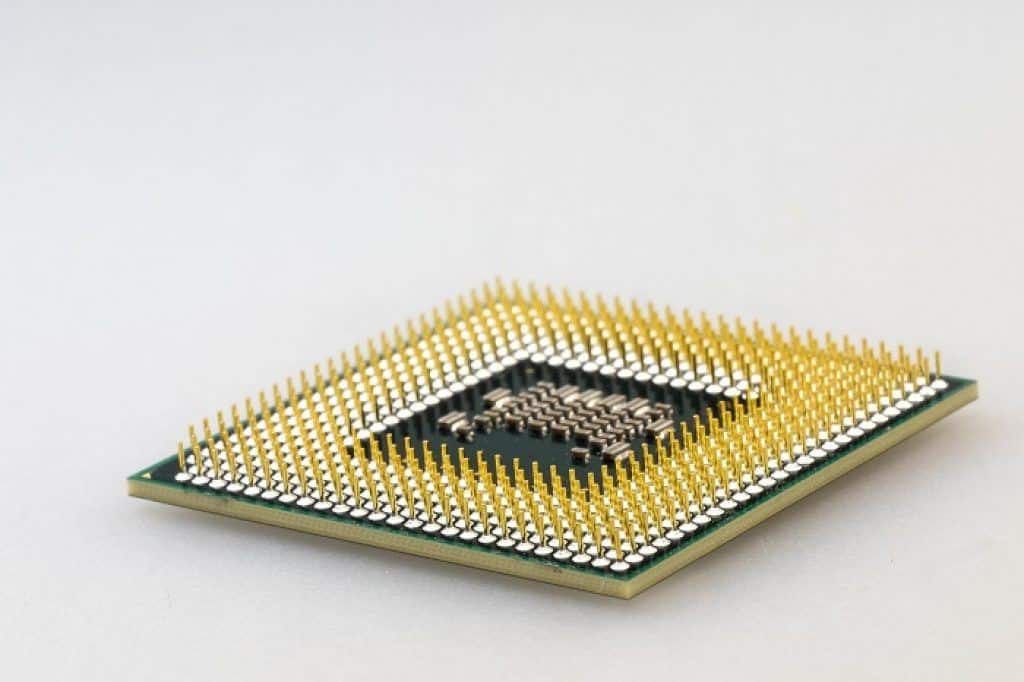 intel CPU processor with golden pins