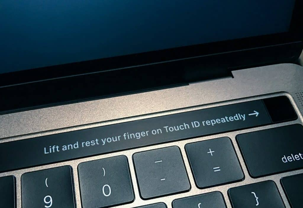prompting the user to register the finger print on a mac book pro