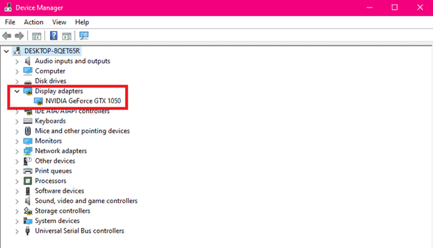 "a PCs current GPU showing under ""display adapters"" in device manager"