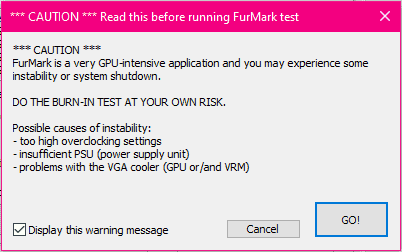 FurMark proceed at own risk warning