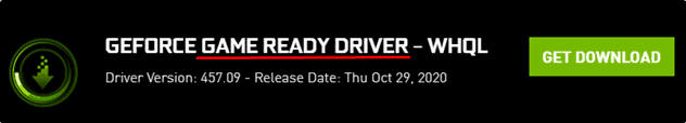 GEFORCE game ready driver screen showing a driver ready for download