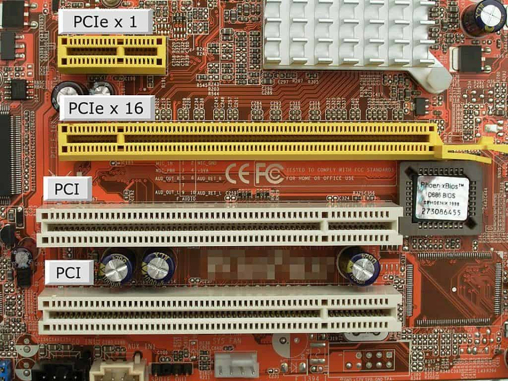 PCI e-slots of a motherboard